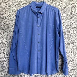 John Varvatos Blue Shirt w/ White Contrast Stitch